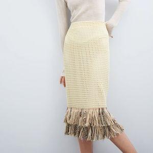 NWT Zara Mesh fringes skirt M